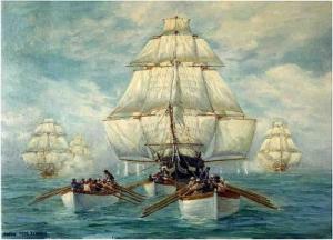 Die USS Constitution entkommt der britischen Flotte, indem sie sich in einer Flaute von ihren Beibooten wegschleppen lässt.